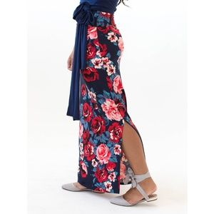 Side Slit Maxi Skirt - Sea to Shining Sea